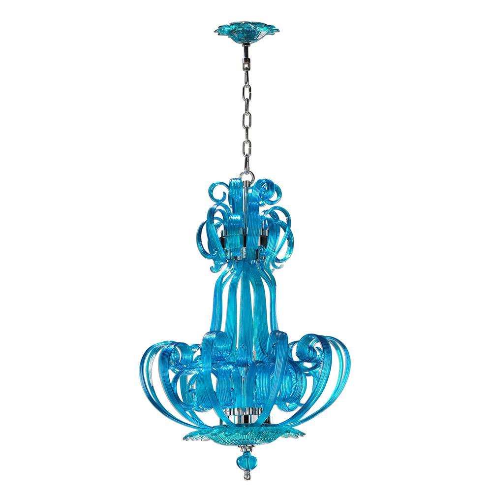 Florence Light Blue Aqua Murano Glass 4 Light Pendant