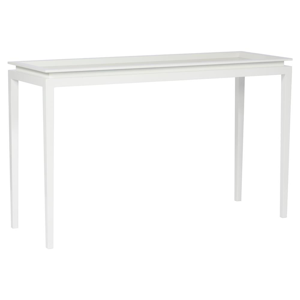 Brody modern minimal glacier white console table kathy kuo home geotapseo Images