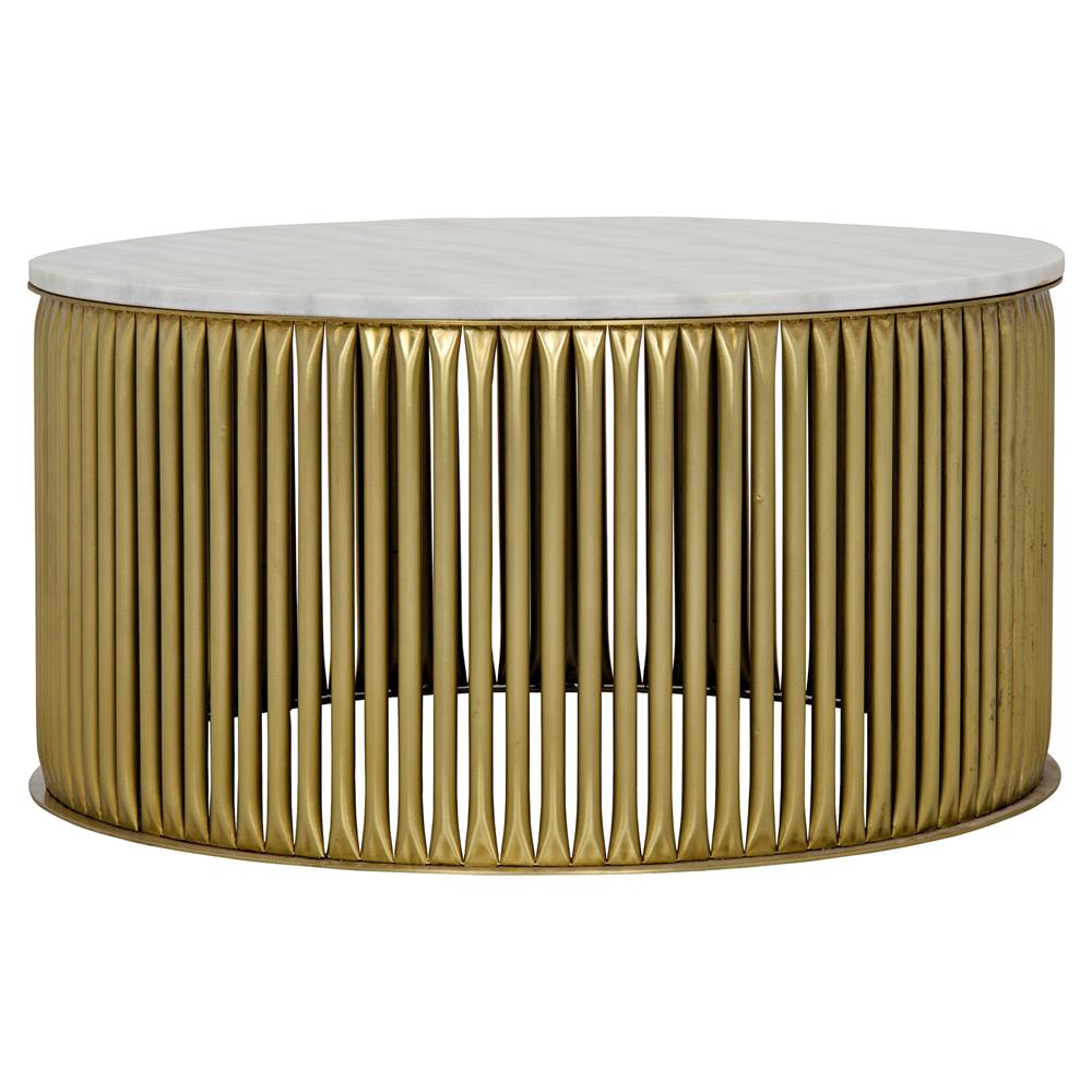 Brass Display Coffee Table: Opher Round Brass White Stone Coffee Table