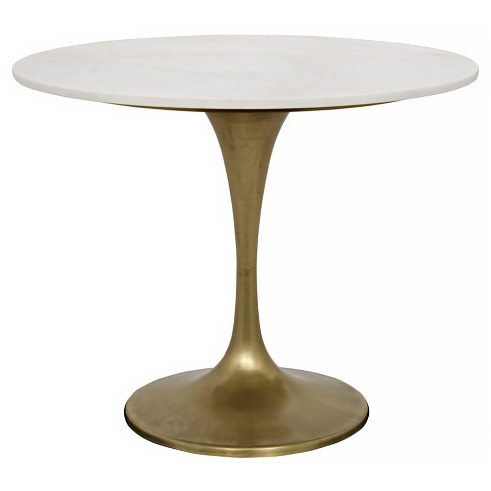 Nadira Antique Brass White Stone Tulip Bistro Table   36D | Kathy Kuo Home