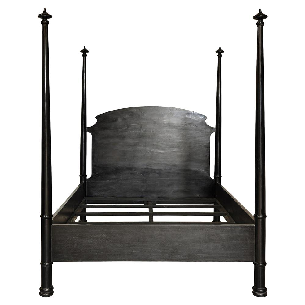 Tabina Bazaar Rubbed Black Four Poster Bed Queen Kathy Kuo Home