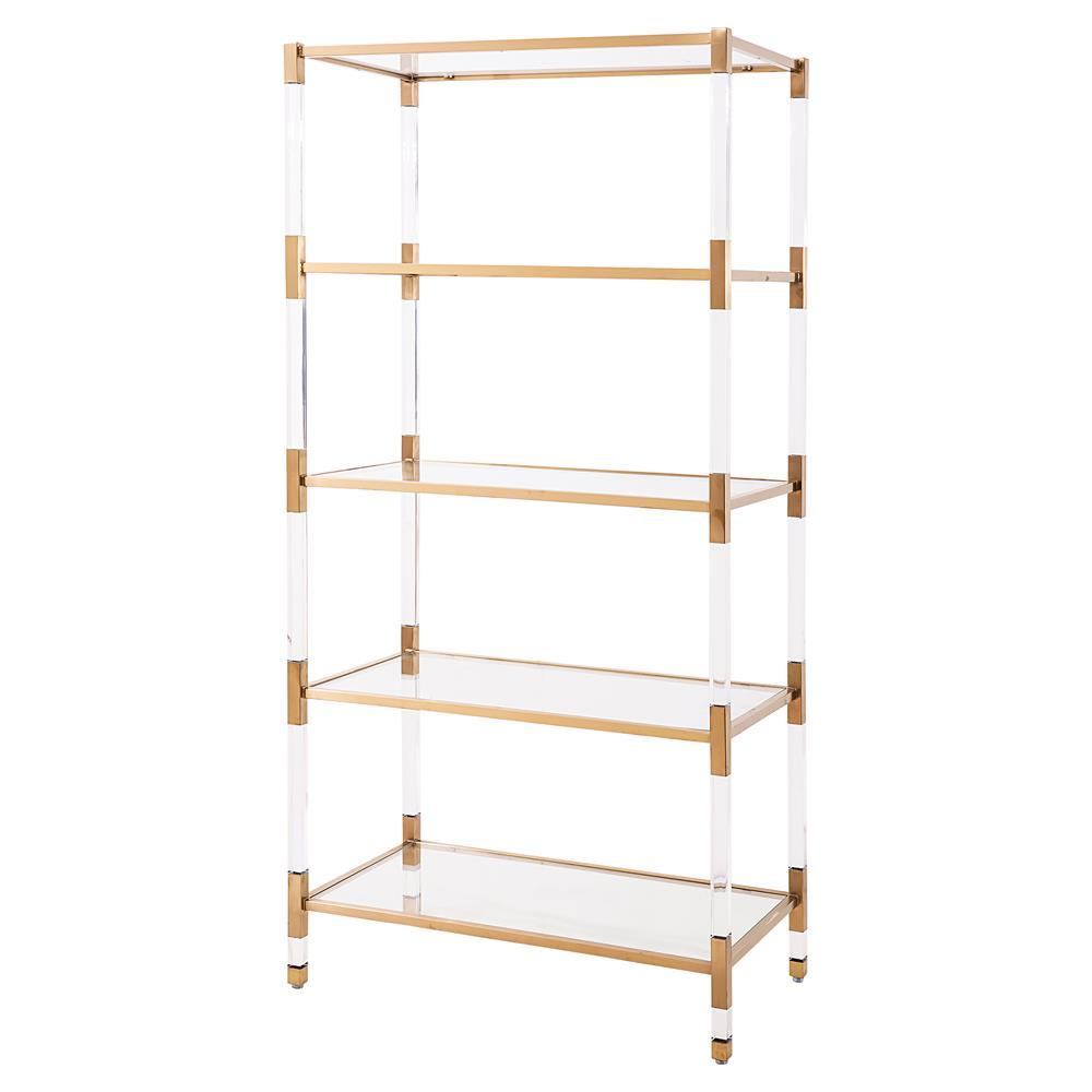 maelie modern acrylic antique gold etagere kathy kuo home. Black Bedroom Furniture Sets. Home Design Ideas