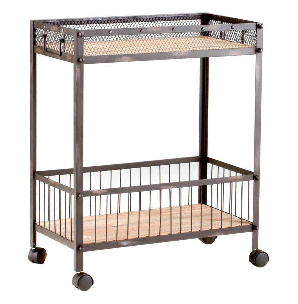 Industrial Loft Raw Steel Reclaimed Wood Iron Serving Bar Cart | Kathy Kuo  Home ...