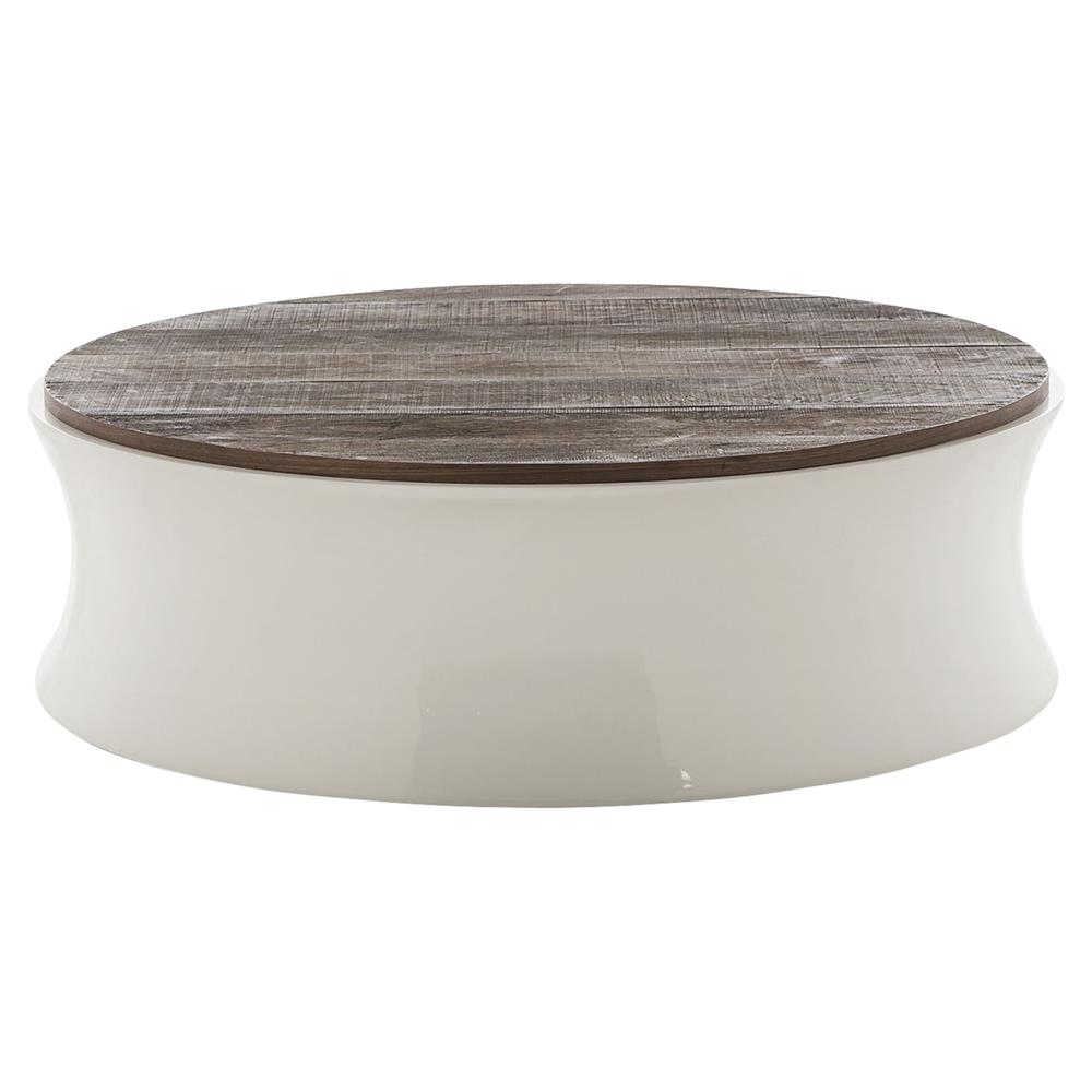Cardillo white rustic round coffee table kathy kuo home Round rustic coffee table
