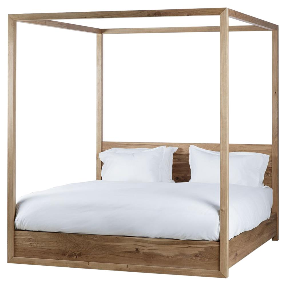 alamo coastal rustic oak wood poster bed - queen | kathy kuo home
