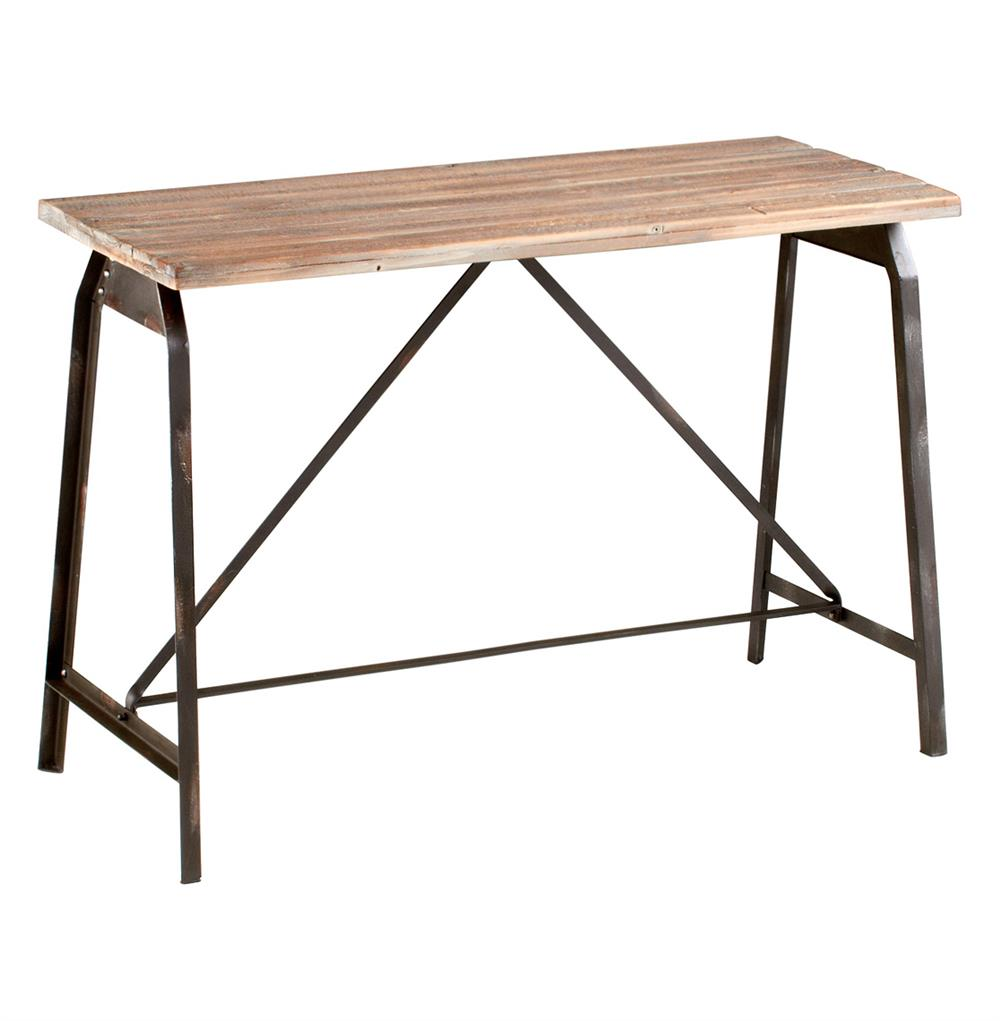 Rustic Iron Console Table ~ Laramie modern rustic iron solid wood console table