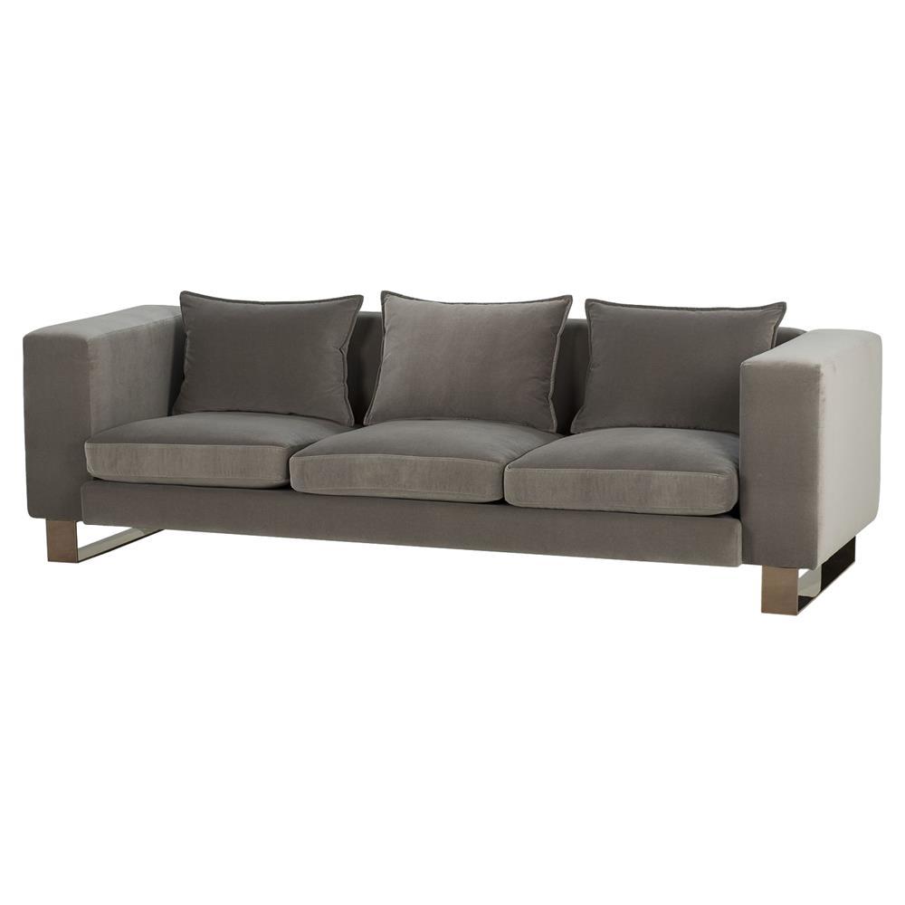 Taupe Velvet Sofa: Kelly Hoppen Monet Regency Taupe Velvet Brass Sofa