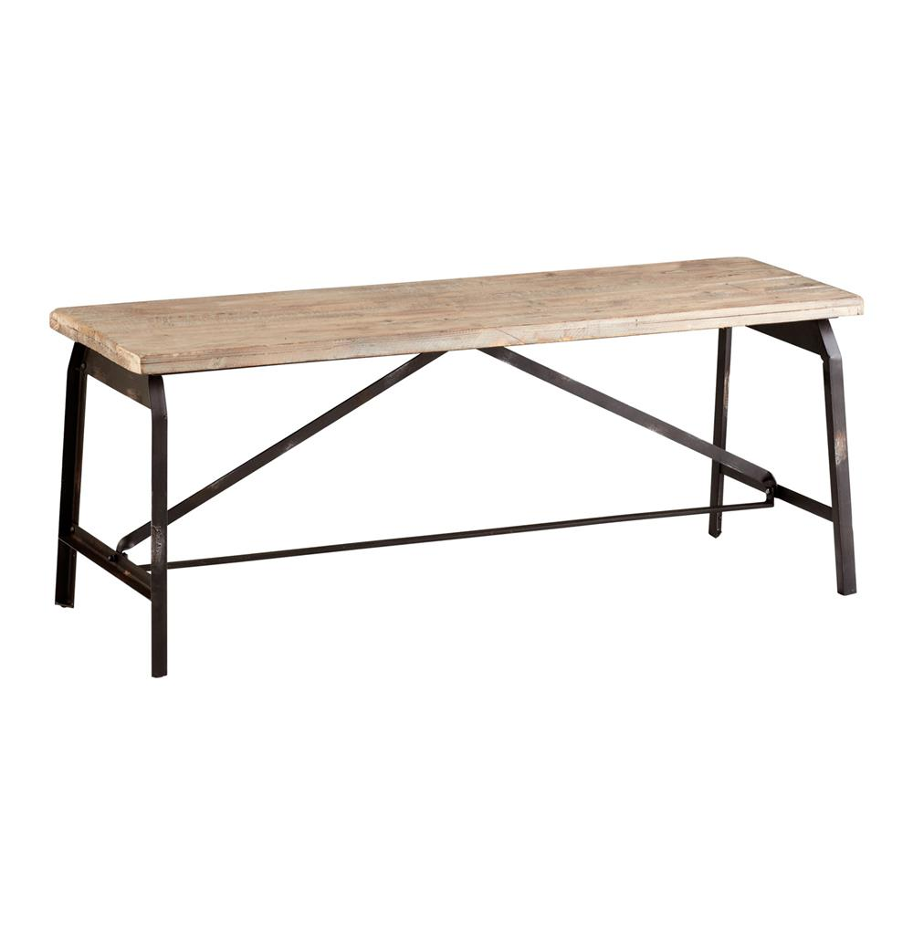 Laramie Modern Rustic Iron Solid Wood Industrial Bench Kathy Kuo Home