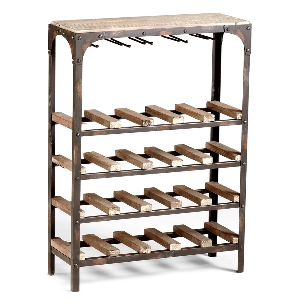gallatin industrial metal rustic wood narrow console wine rack kathy kuo home