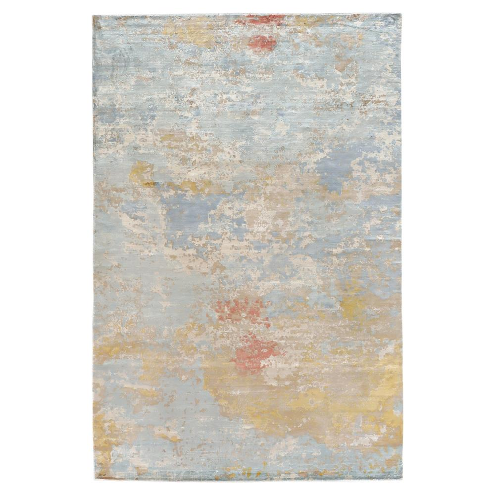 Exquisite Rugs Marble Modern Speckled Sky Blue Silk Rug