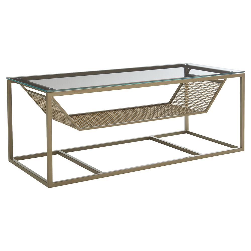 Rowe Industrial Modern Gold Silver Glass Coffee Table
