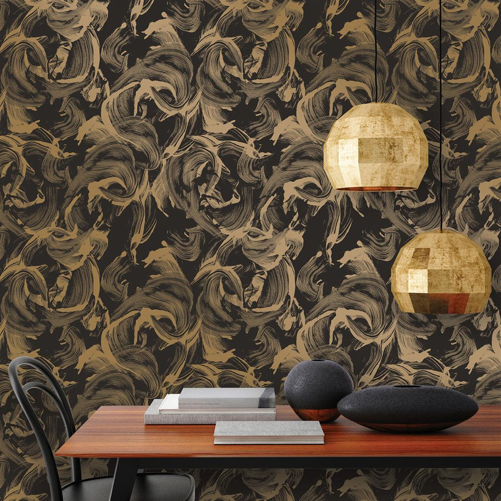 Metallic gold and matte black paint strokes removable for Gold self adhesive wallpaper