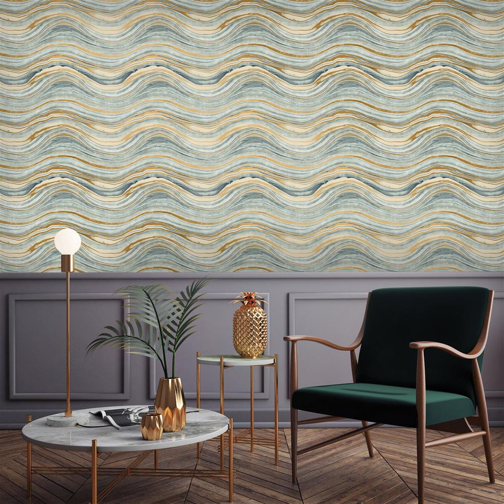 Blue And Metallic Gold Wave Coastal Beach Removable Wallpaper Kathy Kuo Home
