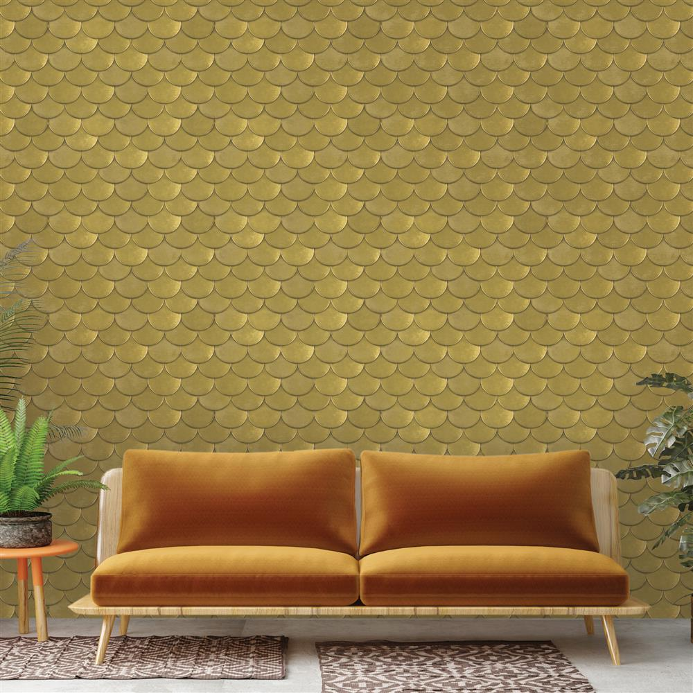 Metallic Gold Roof Slate Removable Wallpaper | Kathy Kuo Home