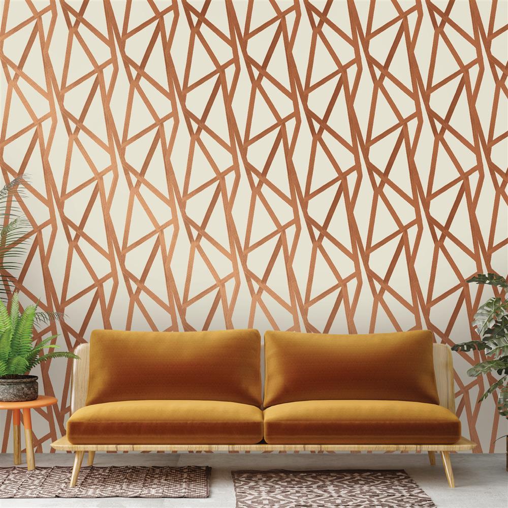 Bronze metallic geometric removable wallpaper kathy kuo home for Metallic removable wallpaper