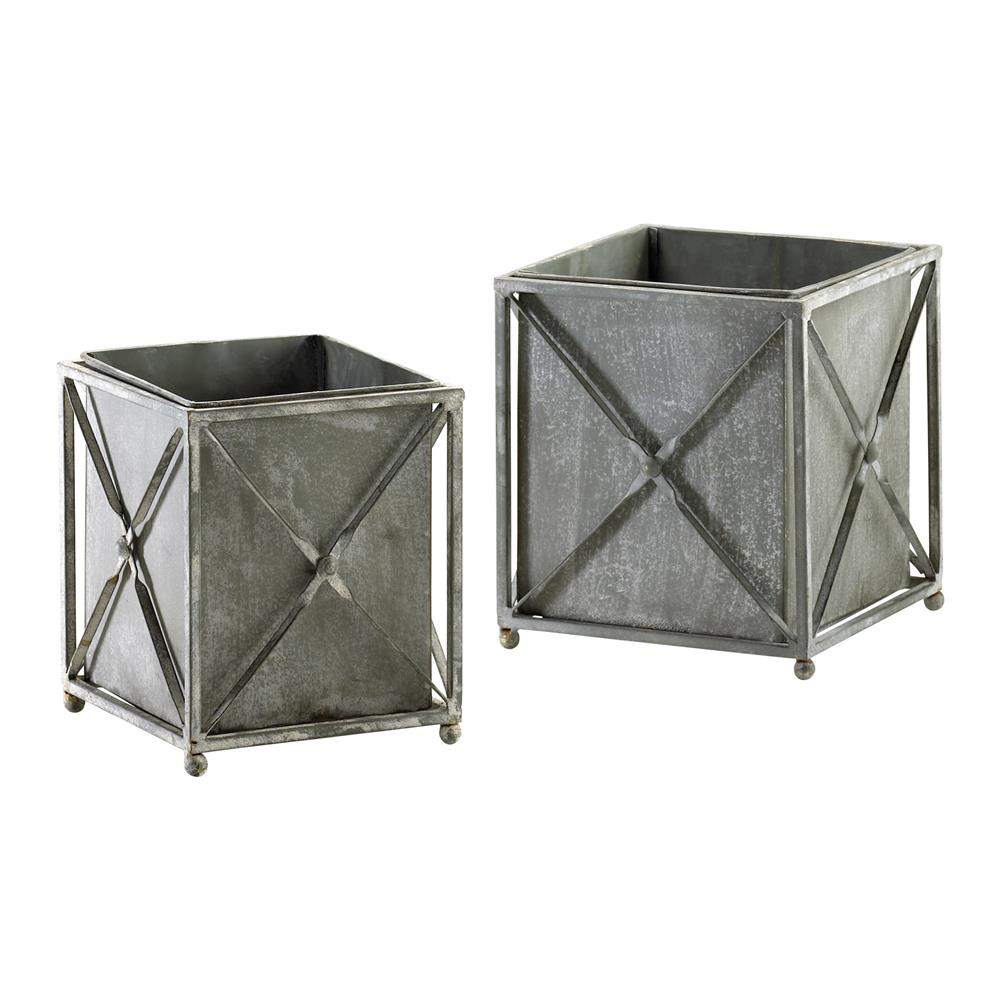 Set Of 2 Sheldon Gray Wash Wrought Iron Rustic Square Planters | Kathy Kuo  Home