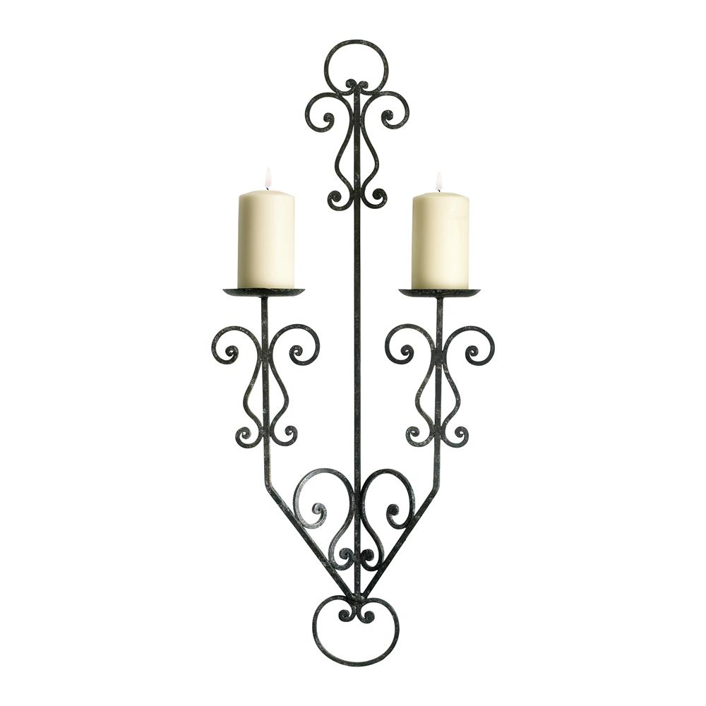 Rod Iron Wall Sconces : Italian Rustic Wrought Iron Scroll 2 Candle Wall Sconce Kathy Kuo Home