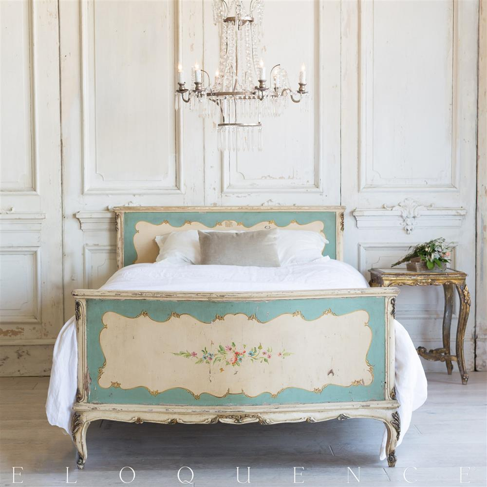 French country style vintage bed 1940 kathy kuo home for Classic french beds