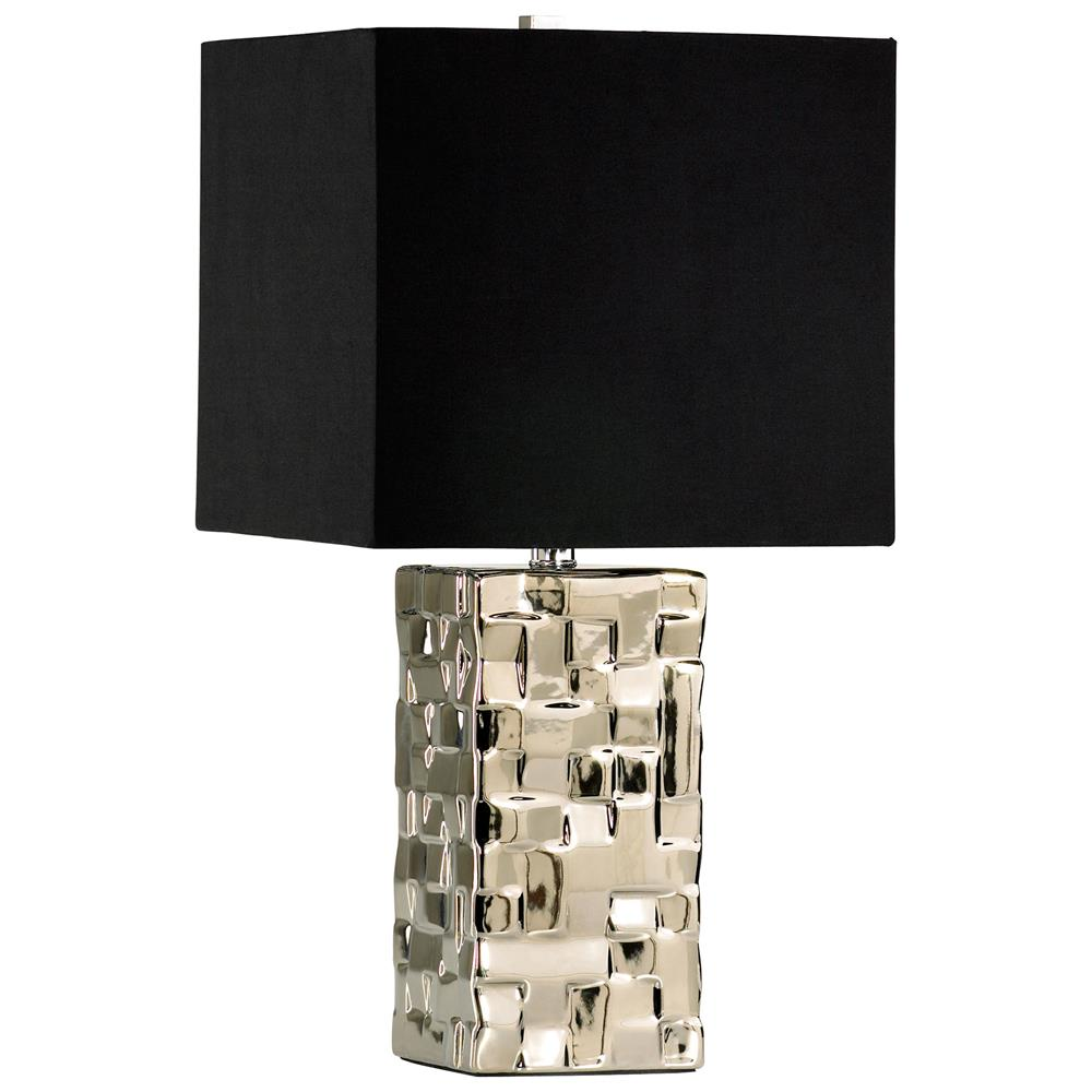 Java masculine chunky silver square table lamp kathy kuo home mozeypictures Choice Image