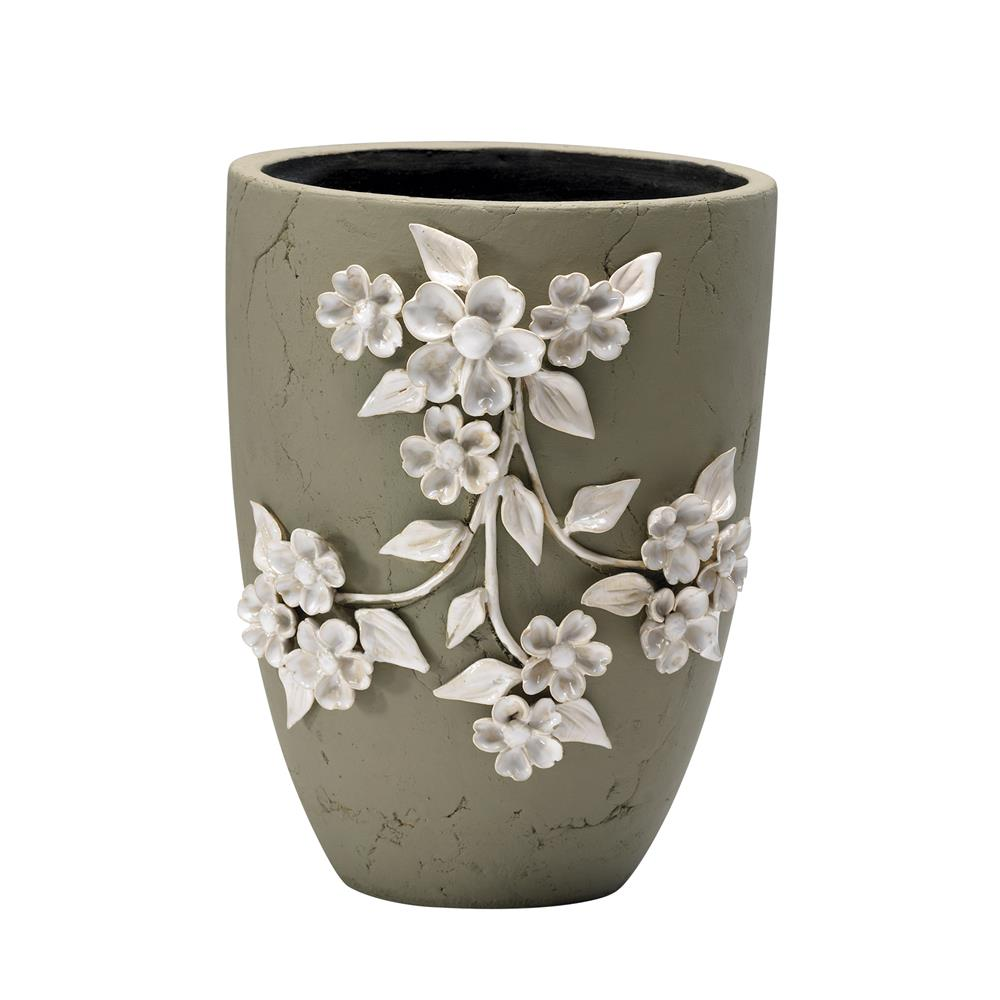 Large sculpted ivory flower ceramic applique outdoor planter for Outdoor ceramic planters