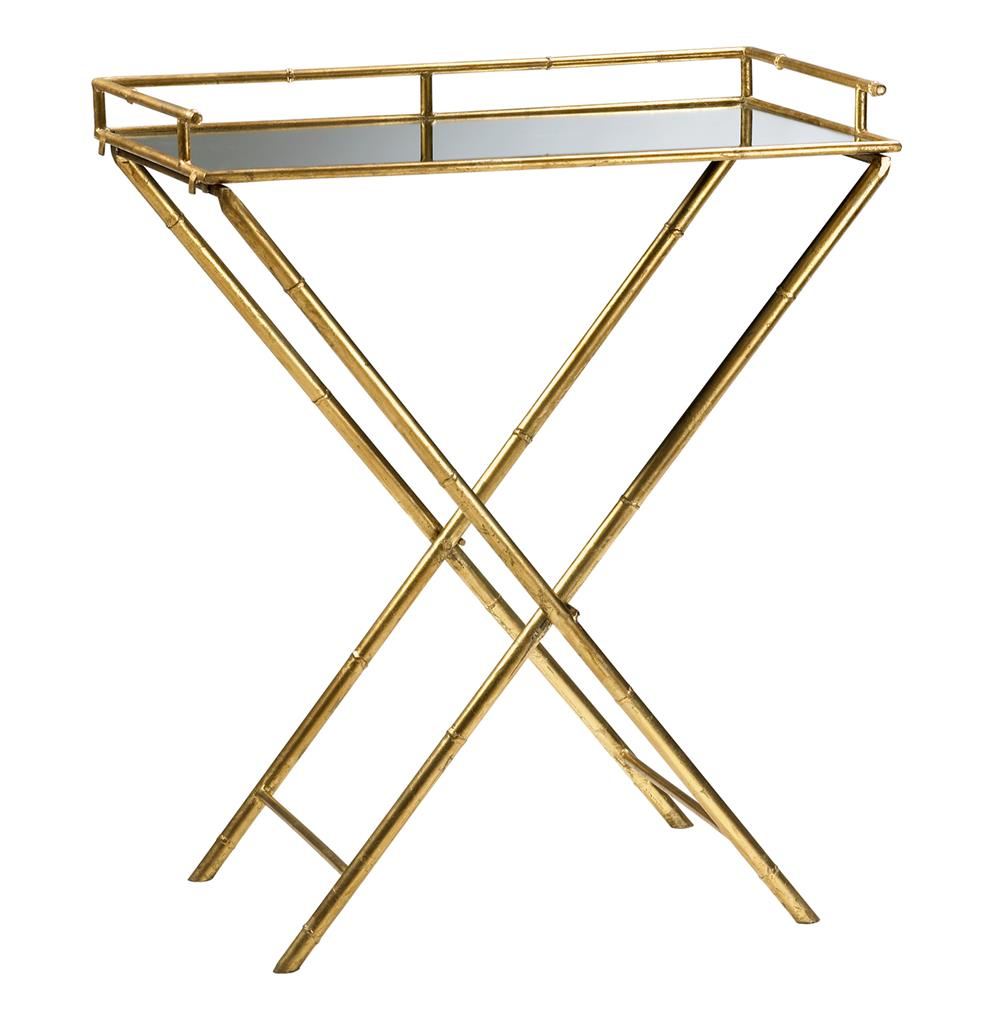 Hollywood regency gold leaf bamboo mirrored tray table for Tray side table