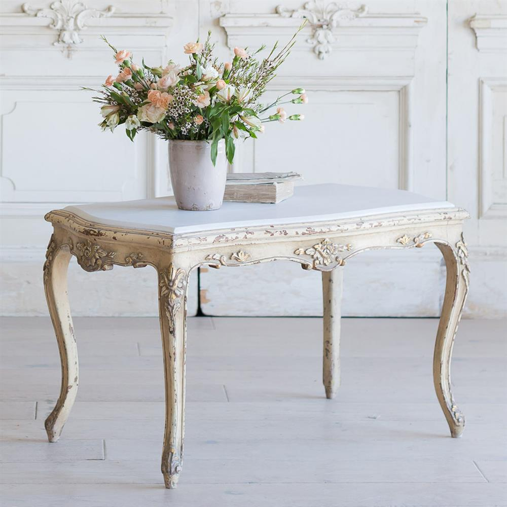 French Country Distressed Coffee Table: French Country Style Vintage Coffee Table: 1940