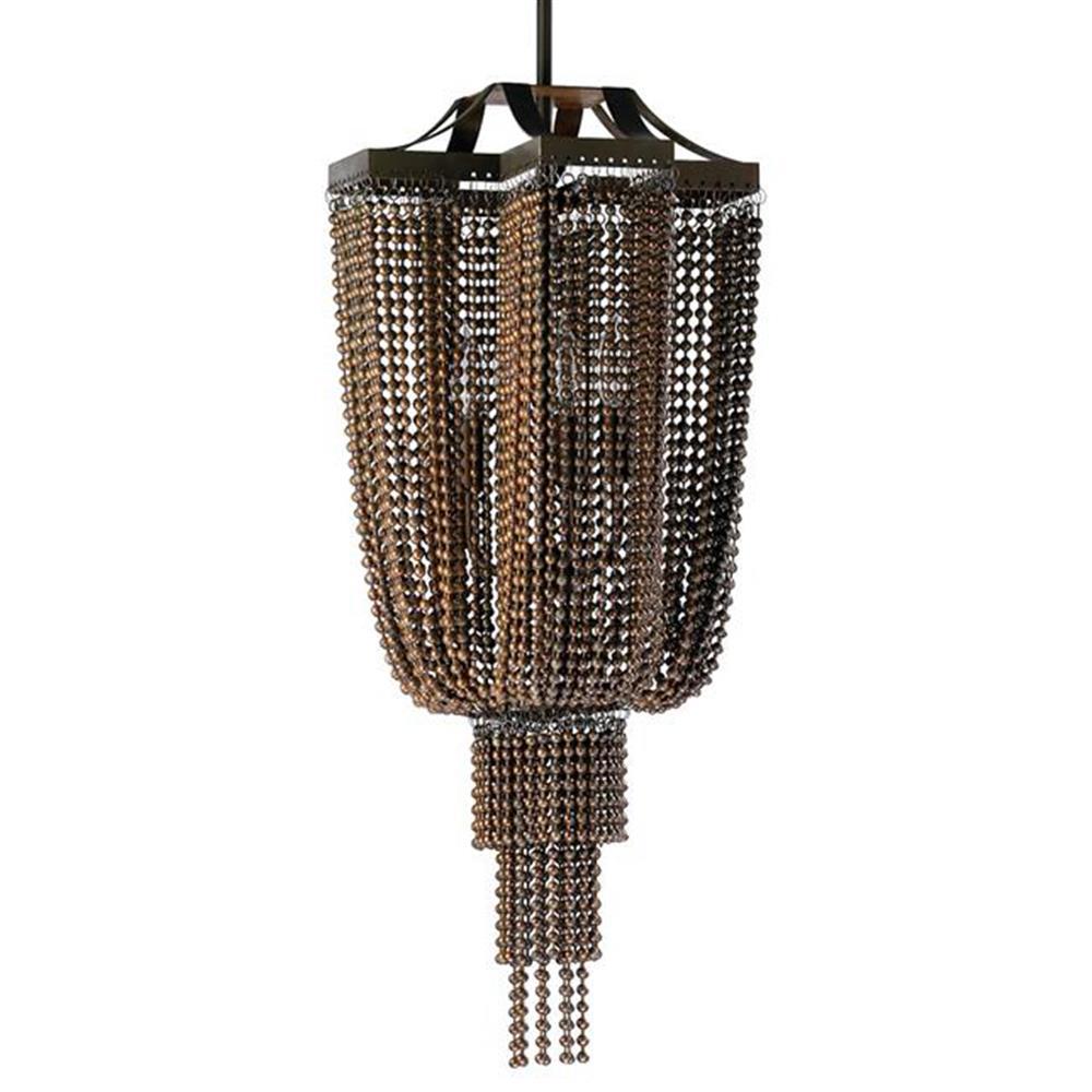 Modern Chandelier Chain: Marcella Industrial Modern Copper Ball Chain 4 Light Pendant