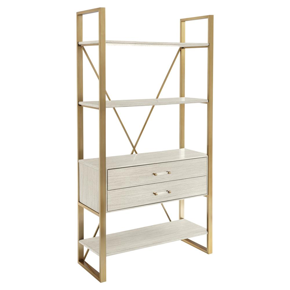 . arielle modern classic brass finished bookcase  kathy kuo home