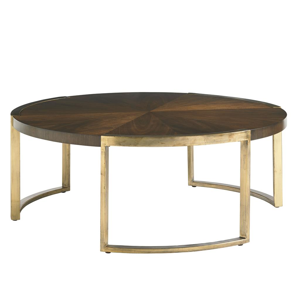 Chantal modern classic walnut gold leaf cocktail table for Classic home tables