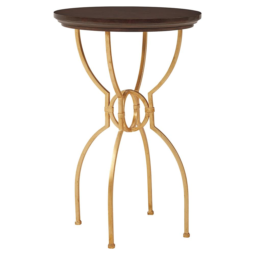 Harriet modern classic round gold ebony inlay side table for Round gold side table