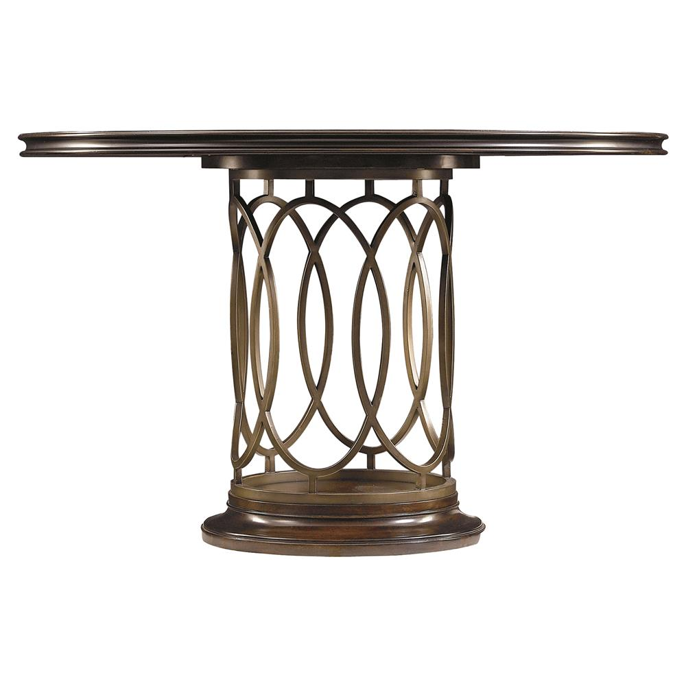 Sabrina modern classic round metal pedestal dining table for Modern round dining table