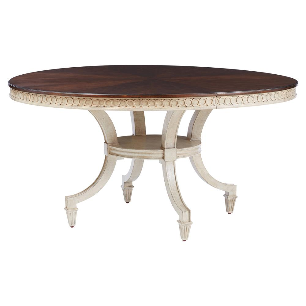 Circular Dining Table ~ Annie walnut ivory round pedestal dining table kathy kuo