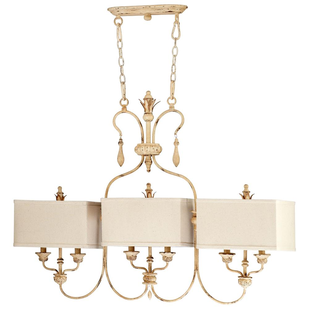 Maison French Country Antique White 6 Light Island