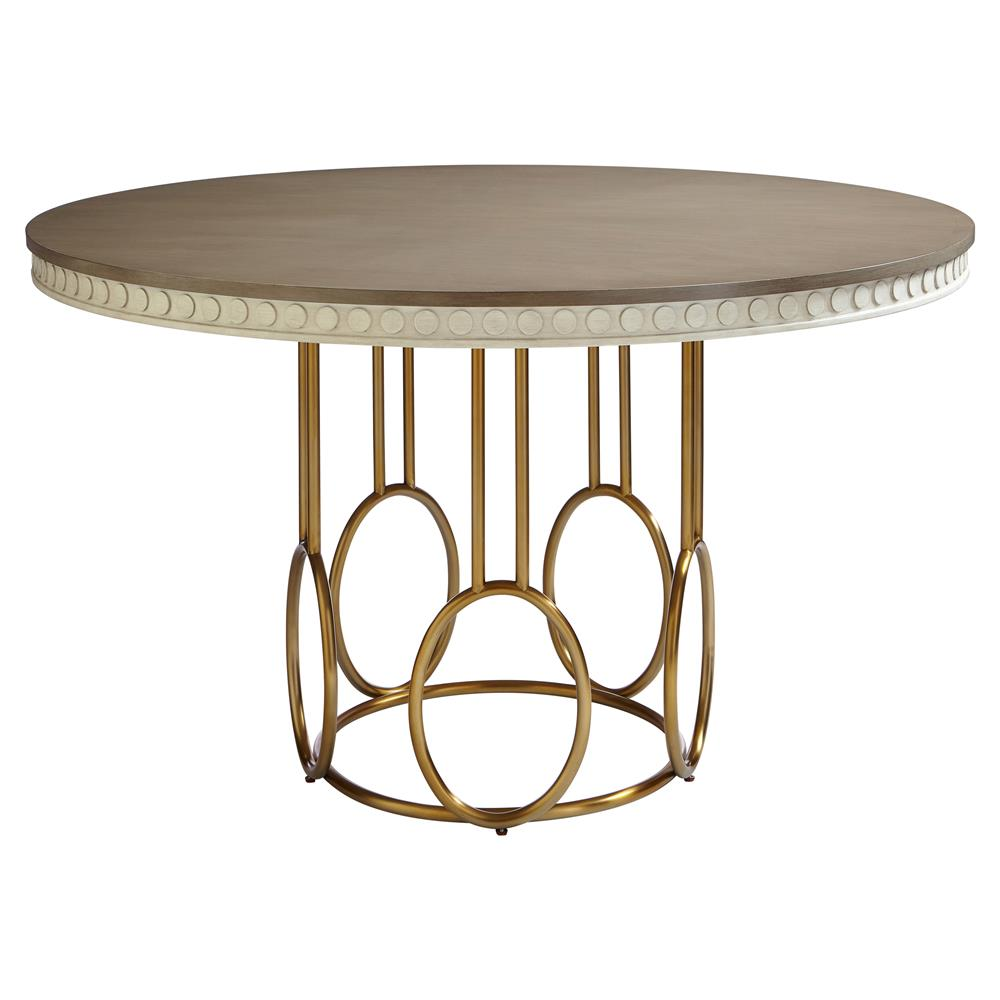 Gold Dining Tables ~ Alexis modern classic round birch and gold dining table