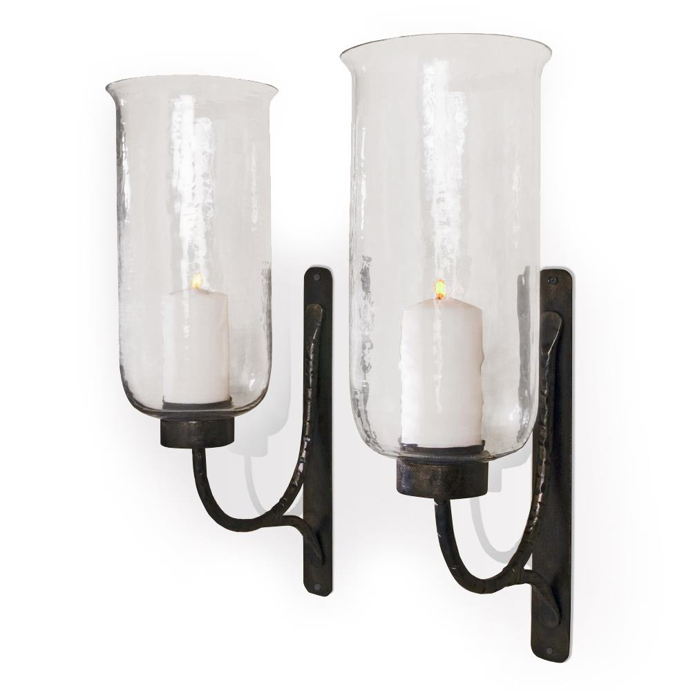 Wall Sconces For Candles With Glass : Pescara Contemporary Rustic Iron and Glass Candle Sconces Kathy Kuo Home