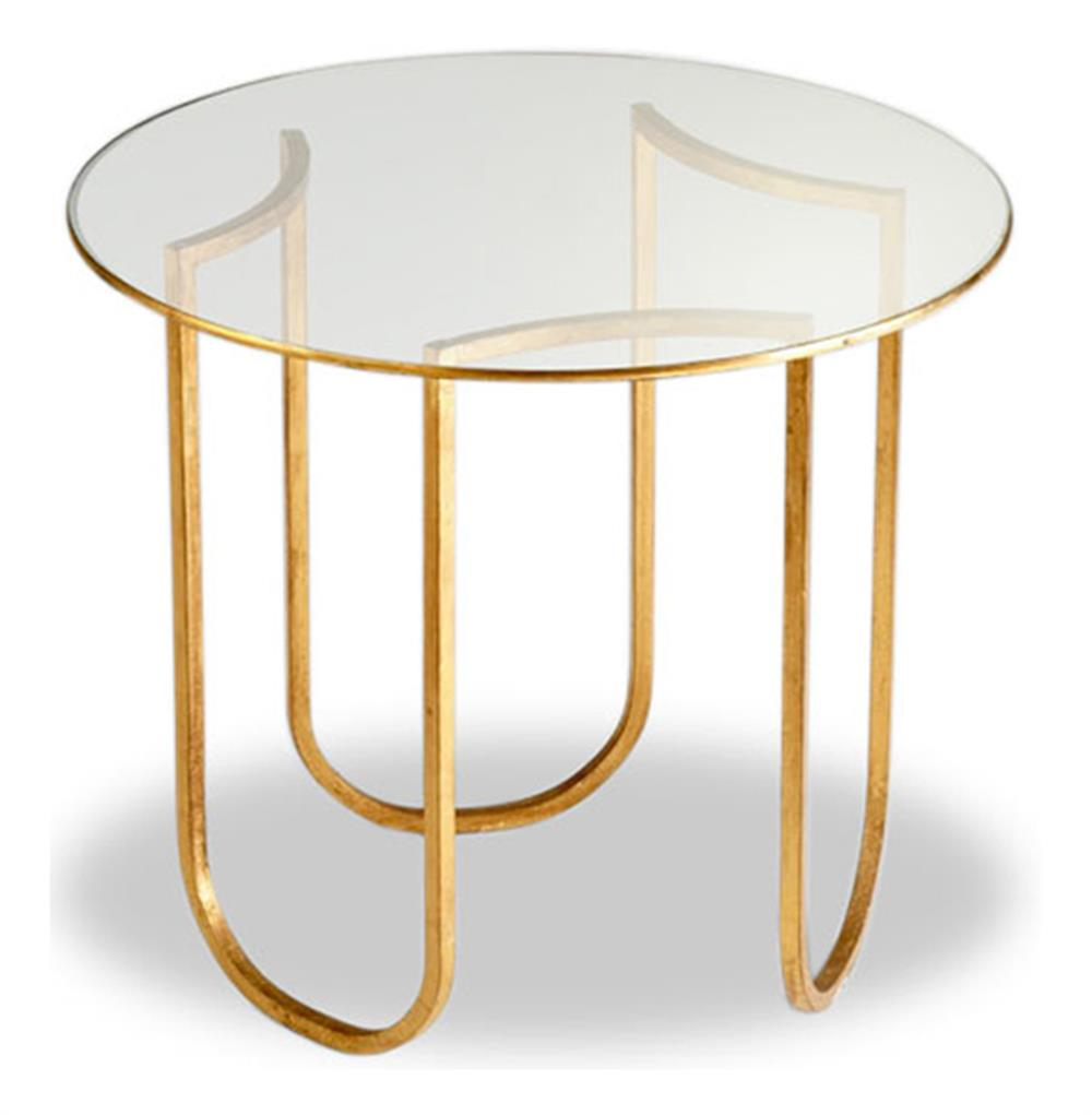 Vincent gold leaf round glass contemporary side table for Round gold side table