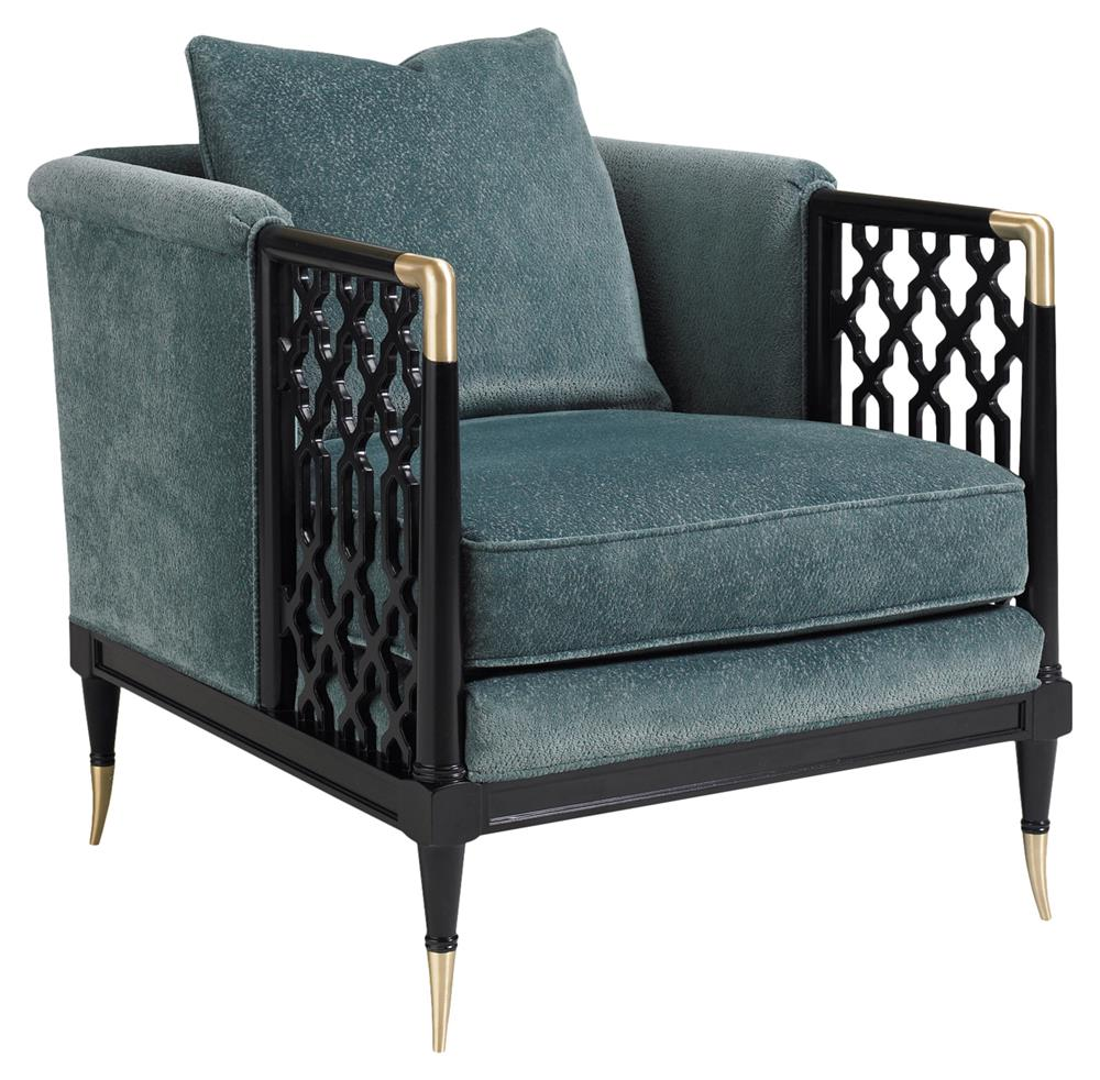 Swanson Midnight Black Latticed Brass Plated Accent Club Chair | Kathy Kuo  Home ...