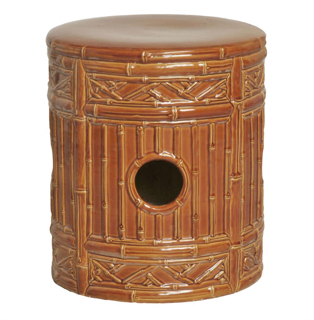 Asian Bamboo Round Ceramic Garden Stool- Rust Brick Glaze | Kathy ...