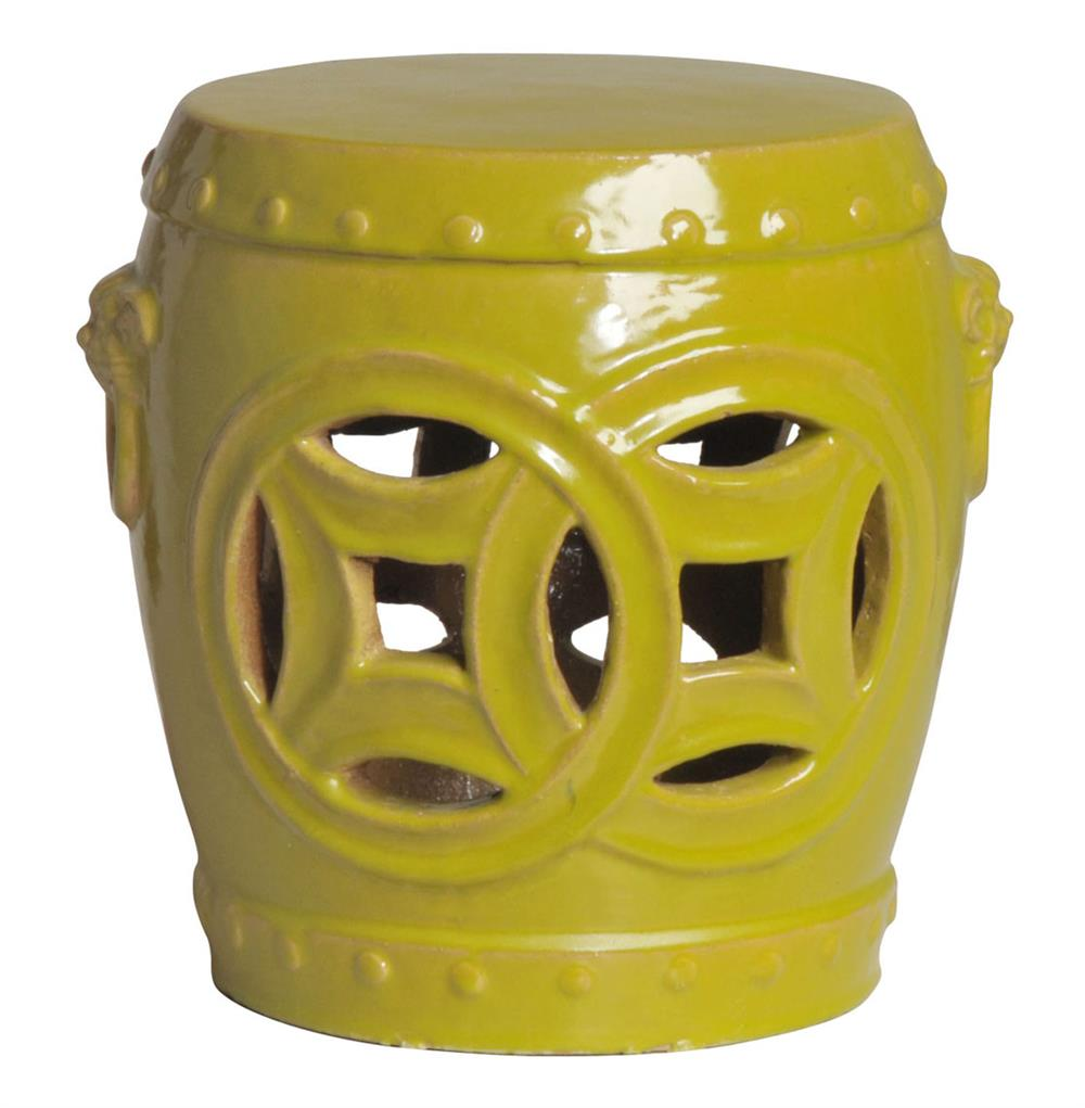 Double Fortune - Chartreuse Yellow Green Pierced Asian Garden Stool