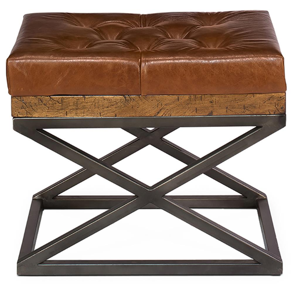 Thomas Modern Classic Brown Leather Cushion Bench Kathy Kuo Home