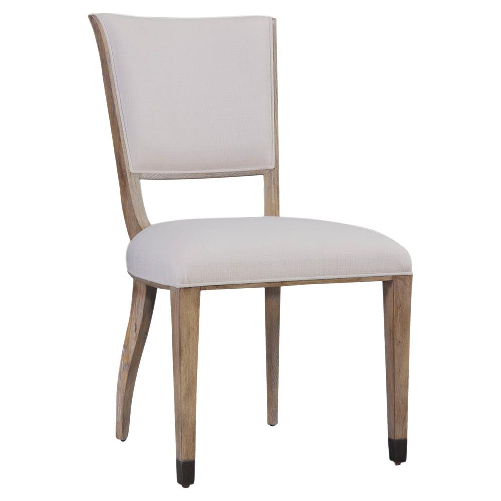 Elena modern classic wood brass white upholstered dining for Upholstered dining chairs contemporary