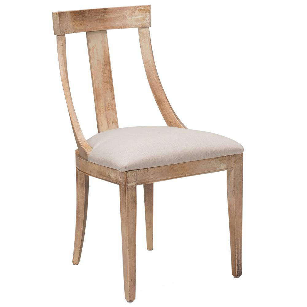 Emélie French Country Washed Beechwood Cream Linen Upholstered Dining Chair Kathy Kuo Home