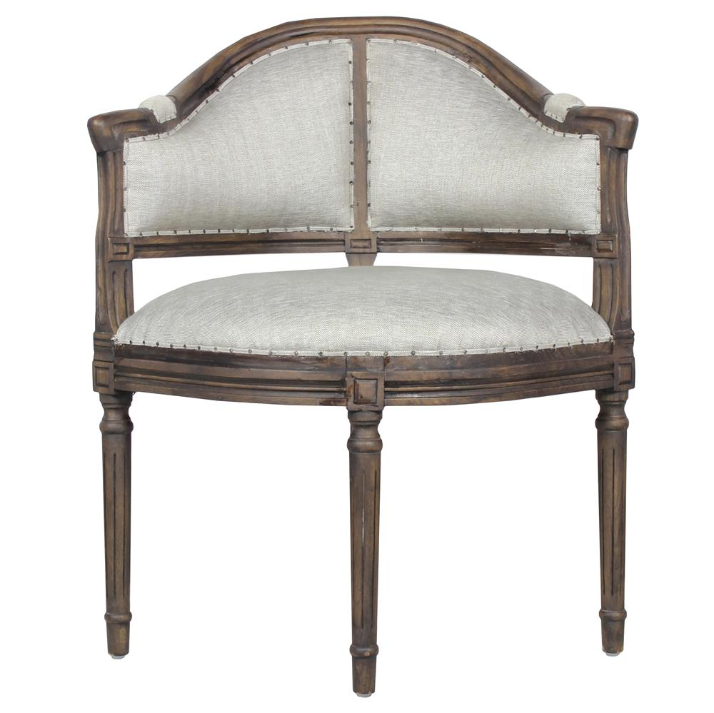 Mille French Country Grey Silver Upholstered Oak Carved Chair Kathy Kuo Home
