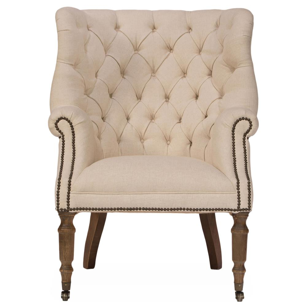 Biarritz French Country Classic Tufted Beige Linen Club Chair | Kathy Kuo  Home