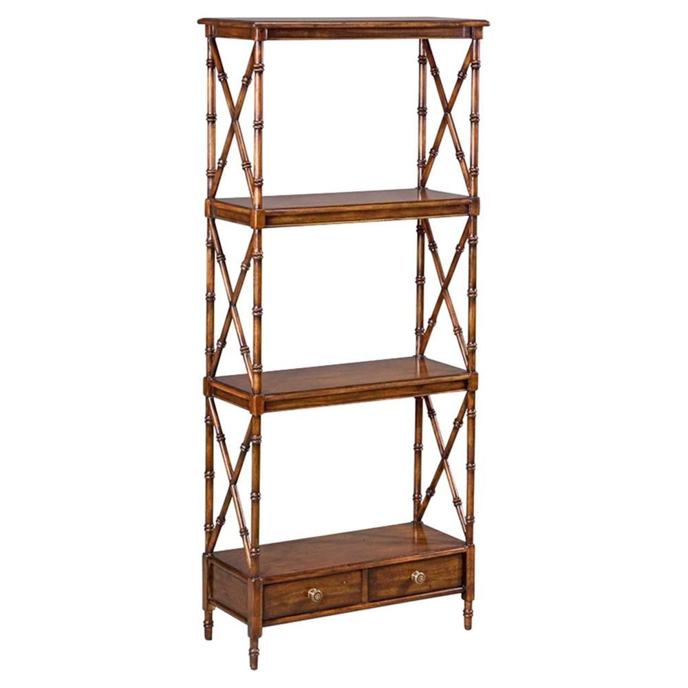 Rhin french country 2 drawer solid walnut etagere kathy for Dining room etagere