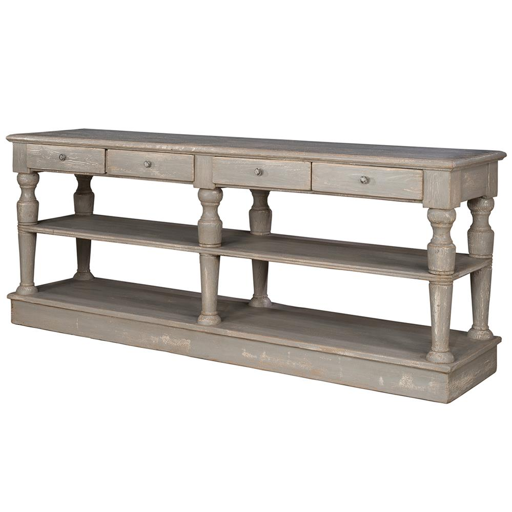 Clémence French Country Washed Grey Pine 4 Drawer Console Table | Kathy Kuo  ...