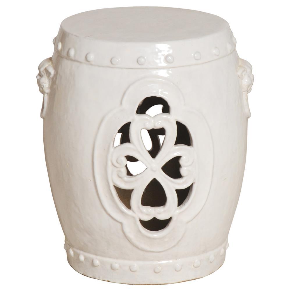 white pierced clover ceramic asian garden stool kathy kuo home - Ceramic Garden Stool