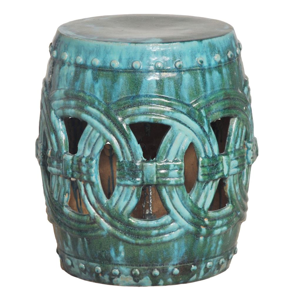 Beau Pierced Linked Green Fortune Asian Ceramic Garden Seat Stool | Kathy Kuo  Home