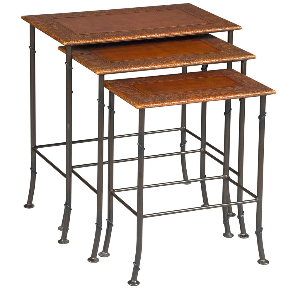Marvin warm brown leather iron nesting table kathy kuo home