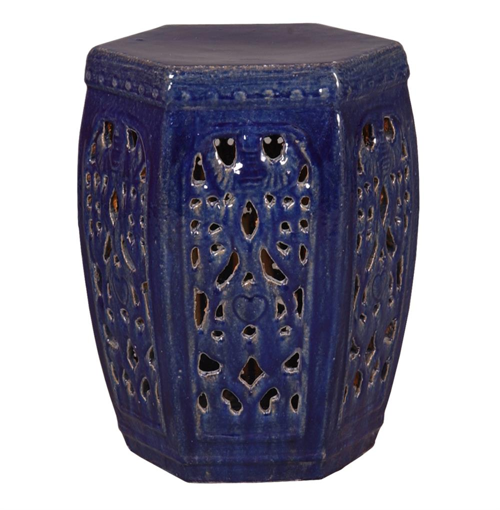 hexagon pierced ceramic garden stool navy blue glaze kathy kuo home